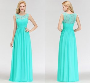 100% Real Photos Turquoise 2019 New Fashion Cheap Bridesmaid Dresses Scoop Neck Lace Applique Wedding Guest Prom Evening Wear Dress BM0052 on Sale
