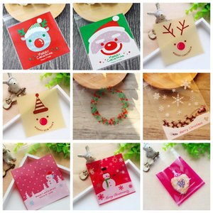100Pcs lot Cute Cartoon Gifts Bags Christmas Cookie Packaging Self-adhesive Plastic Bags For Biscuits Birthday Candy Cake Package on Sale