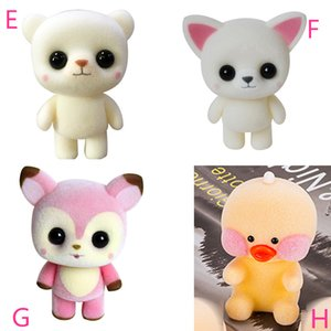 Hot cute plastic flocking doll Shiba Junior Yellow Panda panda pink rabbit exquisite children's party gifts baby plush toys H038