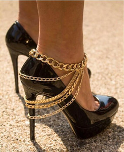 Anklets For Women Fashion Punk Gold Silver Plated Alloy Chains Tassel Foot Jewelry