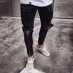 Fashion Hiphop Men's Black Zipper Slim Motorcycle Pants Male Streetwear Ripped Personality Classic Denim Trousers
