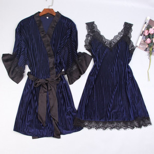 Wholesale Sexy Women Nightgown Sets Pleuche Pieces Suit Nightdress Bathrobe Female Kimono Bath Gown Robes Night Sleep Wear Sleepwear