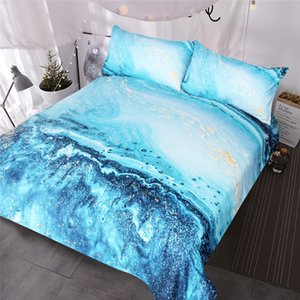 Watercolor Bedding Set Golden and Blue Duvet Cover Set Ocean Waves Bed Cover Abstract Printed Bedclothes King