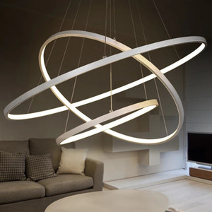 Wholesale modern round pendant lights for sale - Group buy Modern Round Circle ring pendant lights dining room lamp for kitchen light fixtures abajur lighting lustre led pendant lamps