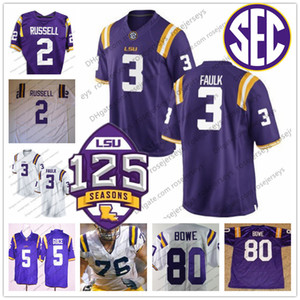 LSU Tigers #3 Kevin Faulk 1 Brandon LaFell 2 Rueben Randle 11 Spencer Ware 16 Danny Etling White Purple Yellow 125th Retired Jersey