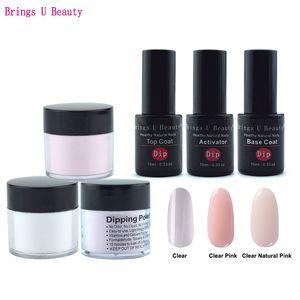 6 in 1 French Manicure Dipping Powder Tool Kits Set 10g Box 10ml Base Coat Top Coat Activator Dip Powder Nails Natural Dry