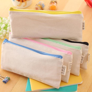 20pcs lot 20.5*8.5cmDIY White canvas blank plain zipper Pencil pen bags stationery cases clutch organizer bag Gift storage pouch