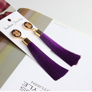 Wholesale 2018 New Women Tassel Earrings Boho Bohemian Long Ethnic Silk Fabric Dangling Earrings For Women Style Free DHL G588S