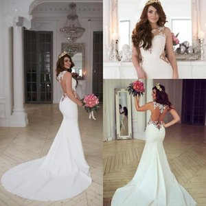 Wholesale 2019 Cheap Generous Sleeveless Mermaid Wedding Dresses Sheer Jewel Neck Cutaway Sides Lace Appliques Bridal Gowns With Long Train Plus Size