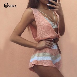 Wholesale Ohvera Loose Jumpsuits For Women Knitted Striped Playsuit Women Summer Sexy Jumpsuit Short Overalls