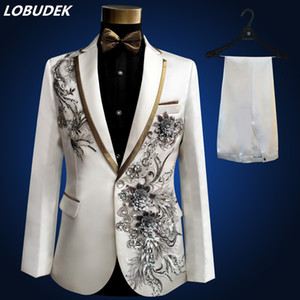Wholesale jacket pants bow tie belt Man Suits Wedding Groom Dress Applique Flowers Sequins Blazers Prom White Black Red Suit Singer Host Stage Wears