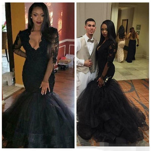 Wholesale 2019 African Black Girl Lace Mermaid Evening Dresses Party Wear Sheer V-Neck Long Sleeves Appliques Elegant Prom Party Gowns
