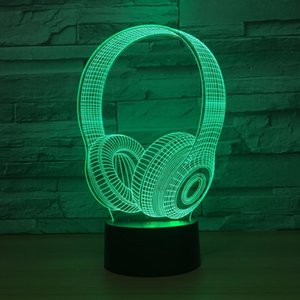 Headphone 3D Optical Illusion Lamp Night Light DC 5V USB Powered 5th Battery Wholesale Dropshipping Free Shippin