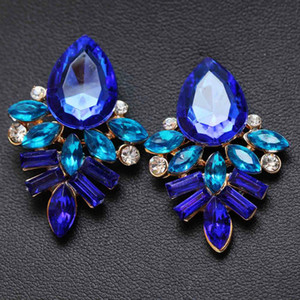 Wholesale Women Fashion Jewelry Style Blue Black Pink Earrings Handmade Rhinestone Sweet Stud Crystal Dangle Earrings For Women Girl Pairs Gift
