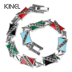 Wholesale Kinel From India Enamel Bracelets For Women Silver Color Fashion Gray Crystal Buckle Wide Vintage Jewelry Gift
