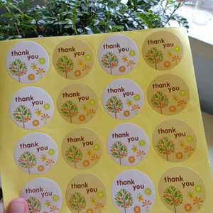 3.5cm 360pcs set round colorful thank you paper self adhesive sticker label with colorful tree gift stiker bags seal sticker