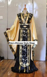 Wholesale Black Yellow Swordsmen Costume Wide Sleeve Chinese Wedding Male Hanfu Tang Suit Cosplay Clothes Emperor Clothes for Men
