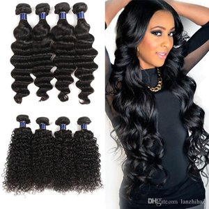 8A Brazilian Loose wave Virgin Human Hair Weaves 4 Bundles 100% indian Unprocessed Jerry Curly Virgin Remy Human Hair Weaves Extensions on Sale