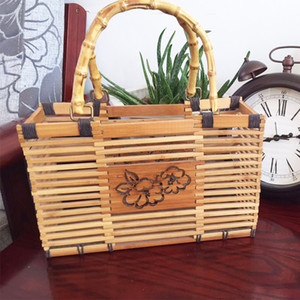 Handmade bamboo handbags woven women men bamboo bags shopping basket tea storge tea collection storge nature