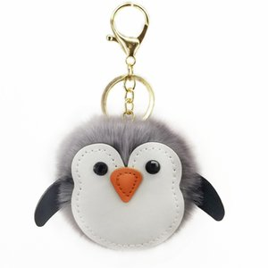 Wholesale Cute Penguin Hair Ball Keychain PU Leather Animal Plush Key Chain Bag Car Pendant Promotional Gifts Sleutelhanger