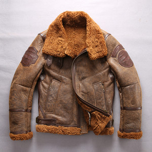 Wholesale brown USA B3 air force genuine leather jackets AVIREXFLY double face fur sheepskin leather jackets FLYING WEAR