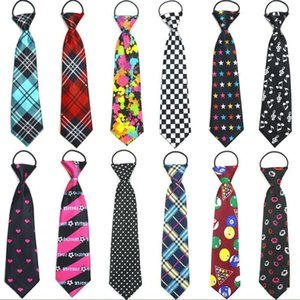 kid's necktie print cartoon ties for children strip dot star polyester tie elastic rope 10pcs lot on Sale