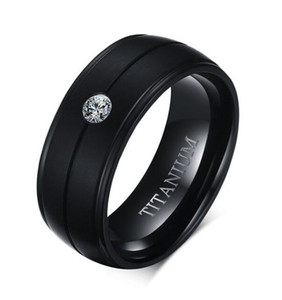 Free Shipping Men's 8mm Titanium Cubic Zirconia Black Engagement Ring Size 8-12