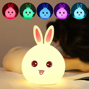 Wholesale Baby Kids Night Light Kawaii Silicone Bunny Rabbit Lamp Tap Control Color Changing Breathing Light For Children Funny Nighttime Buddy