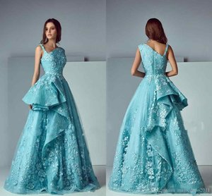 Saiid Kobeisy Ruffles Lace Skirt Prom Party Dresses 2018 Modest Blue Applique Stain Dubai Arabic Occasion Party formal dresses evening on Sale