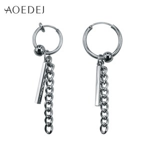 Wholesale AOEDEJ Circle Earrings For Men Tassels Small Hoop Earrings GD Jewellery Punk Women s Biker Non Pierced Earring