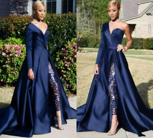 Elegant Jumpsuits Evening Dresses With Detachable Skirt One Shoulder front Slit Pantsuit prom dresses taffeta Celebrity Gowns Party Dress on Sale