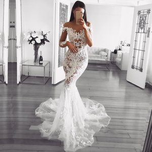 Dubai Arabic Luxury Sparkly 2018 Mermaid Wedding Dresses Sexy Bling Beaded Lace Applique High Neck Illusion Long Sleeves Chapel Bridal Gowns on Sale
