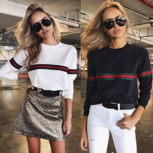 Wholesale 2018 New Fashion Hot Popular Women Ladies Loose Casual Long Sleeve T Shirt Cotton Tops Striped O Neck T Shirt