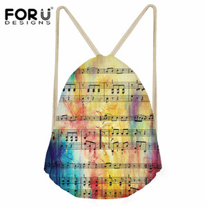 FORUDESIGNS Rainbow Sheet Music Pattern Small Drawstring Bag for Boys Girls Backpack Kids String School Bags Casual Men