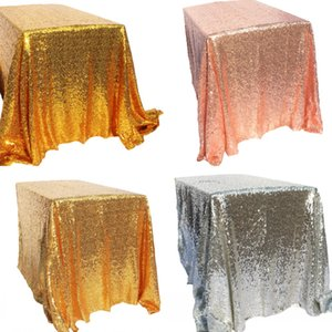 Wholesale Sparkly Gold Silver x150cm Sequin Glamorous Tablecloth Fabric for Wedding Party Event Table Decorations