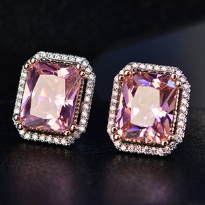 S925 Sterling Silver Ear Needle Stud Earrings For Women Vintage Pink Big Square Aristocrat Classical Atmosphere Earrings Aretes S18101206