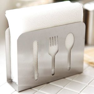 European Style Stainless Steel Spoon Fork Chopsticks Towel Rack Napkin Box Tissue Holder For Home Kitchen Decoration