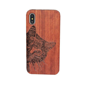 Wholesale Genuine Wood Case For Iphone X Hard Cover Carving Wooden Phone Cases For Iphone Plus Bamboo Housing S9 Retro