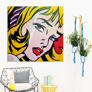 Wholesale Girl with Hair Ribbon By Roy Lichtenstein High Quality Handpainted Modern Pop Art Oil Painting On Canvas ry26