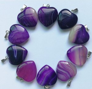 Wholesale Fashion Mixed Striped Onyx Natural Stone Heart Pendants for Jewelry Making MM Charm Necklace Accessories Pc