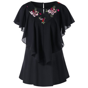 Wholesale 2018 New Fashion Design Women Black Round Neck Short Butterfly Sleeve Embroidery Floral Mesh Panel Flounce Blouse Shirt