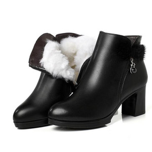 Wholesale 2018 New Rhinestone Rabbit Fur Bow Fashion shoes Warm Velvet and Wool Snow Boots Winter Boots Cowhide leather shoes High Heels Women Boots