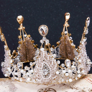 Wholesale Bridal accessories 2018 European retro handmade crystal crown hot bridal wedding tiara crown princess diamond crown