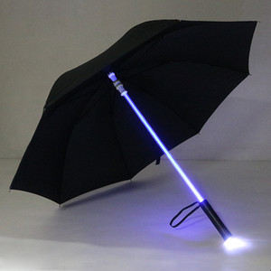Wholesale Fishing LED Light Rain Umbrella LED Light Flash Light Saber Umbrella Safety Fun Blade Runner Night Protection Colors
