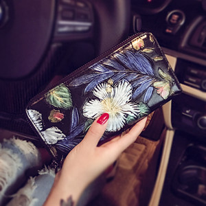 KISUMATER fashion 3D Oil painting flower handbag rose wallets designer purse women clutch handbags leather Free Shipping