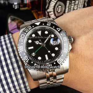 Wholesale asian models resale online - Cheap New Model GMT II Black Dial LN Asian Automatic Mens Watch Black Ceramic Bezel SS Steel Band Sapphire Gents Watches