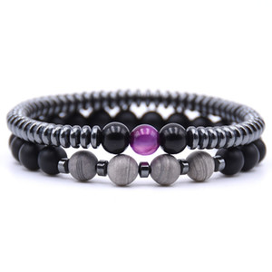 Wholesale 2Pcs Set Charm Natural Stone Energy Bead Bracelet Black Gold White Beads Classic Beads Bracelet For women and men Bangles