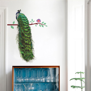 Wholesale Animals Peacock On Branch Feathers Wall Stickers d Vivid Wall Decals Home Decor Art Decal Poster Animals Living Room Decor