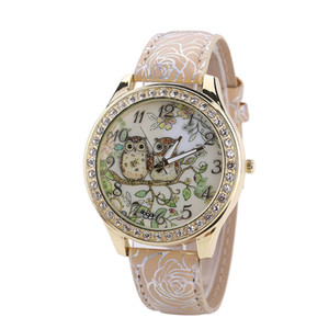 Wholesale HOT SALE Top Brand Luxury Male And Female Universal Cartoon Owl Couple Models Diamond Quartz WatchClock Dropshipping