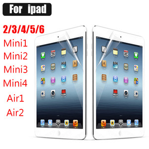 Wholesale 100pcs Clear LCD Screen Protector Cover Guard Film Cloth for iPad Air Air2 Mini Mini2 Mini3 Without retail Package
